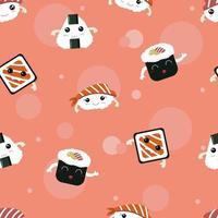 modèle sans couture de sushi kawaii. modèle sans couture de sushi mignon vecteur