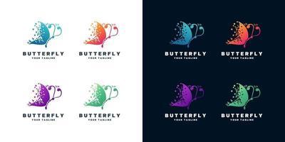 ensemble de conception de logo papillon vecteur