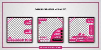 modèle de publication de médias sociaux de fitness vecteur