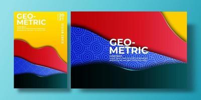 couverture de fond coloré abstrait avec dégradé de couleur et d'ombre, motif géométrique. peut être utilisé pour le fond, le dépliant, le rapport annuel, la couverture de livre, la pancarte. modèle d'affiche rouge, vert, bleu, jaune vecteur