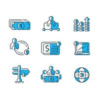 jeu d'icônes de conseil financier couleur plate vecteur