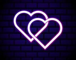 deux coeur néon vecteur