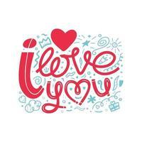 lettrage dessiné à la main je t'aime