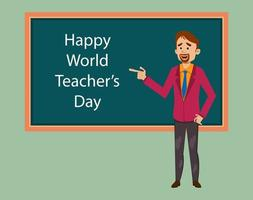 bonne journée mondiale des enseignants illustration plate