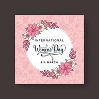 8 mars conception de la journée des femmes. conception de concept de vecteur de jour de la femme pour la célébration internationale de la femme avec fond de fleurs de camélia. illustration vectorielle