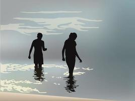 marchant sur la plage sur le vecteur graphique illustration