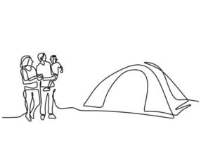 un dessin au trait du camping familial. père, mère, fille et fils faisant un pique-nique avec une tente en plein air. passer des vacances en camping. vacances dans la nature. style minimalisme. illustration vectorielle vecteur