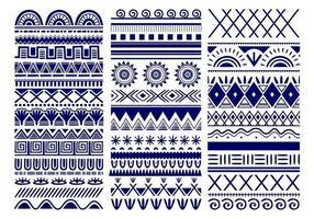 tribal vectorielle continue. toile de fond vintage motif ethnique. art tribal dans un modèle sans couture classique traditionnel de couleur bleu et blanc. bon pour le papier peint, la conception de tissu, le tissu, le papier, le textile