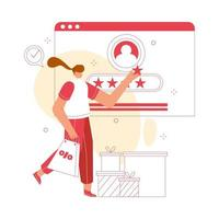 femme donne un avis en ligne. illustration vectorielle de client concept. convient au site Web, à la page de destination, aux applications mobiles.