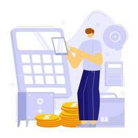 illustration vectorielle du budget ou de la planification financière. calculatrice, coffre-fort, document, smartphone, diagramme graphique. vecteur