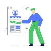 illustration vectorielle de la définition du profil de compte. personnes avec interface utilisateur de médias sociaux. application mobile client. vecteur