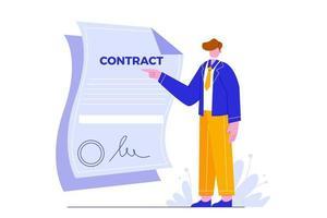 illustration vectorielle de l'accord commercial. les gens font un accord. vecteur