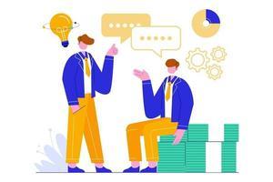 illustration vectorielle de l'équipe commerciale créative. travail d'équipe réussi, réunion, négociation, concept de brainstorming. vecteur