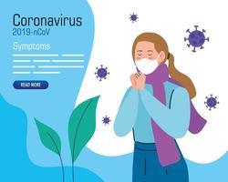 jeune femme portant un masque facial avec des symptômes de covid 19 vecteur