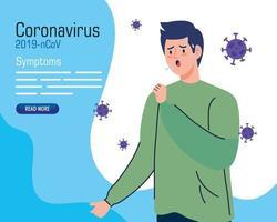 jeune homme avec 19 symptômes de covid vecteur