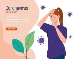 jeune femme avec 19 symptômes de covid vecteur