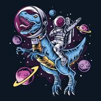 l'astronaute conduit les dinosaures t-rex dans l'espace extra-atmosphérique plein d'étoiles et de planètes vecteur