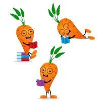 Livre de lecture étudiant carotte. personnage de dessin animé mignon. vecteur