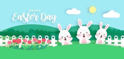 bannière du jour de Pâques avec de jolis lapins dans le jardin. papier découpé et style artisanal vecteur