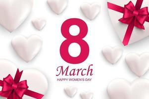 carte de voeux de bonne journée des femmes. coeurs blancs avec des arcs de ruban rose. vecteur