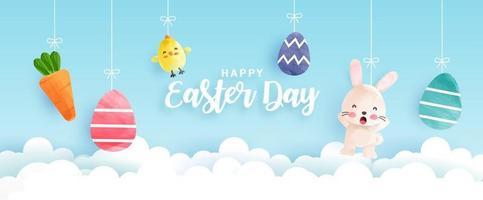 bannière de jour de pâques avec des poulets mignons, des lapins et des oeufs de Pâques vecteur
