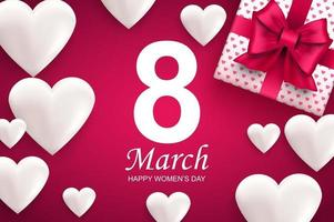 carte de voeux de bonne journée des femmes. coeurs blancs et coffret cadeau avec noeud de ruban rose vecteur