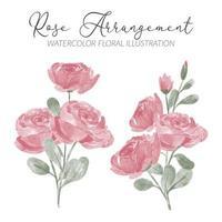 arrangement aquarelle de fleur rose avec illustration de feuille