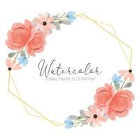 Cadre rustique arrangement aquarelle fleur de pivoine vecteur