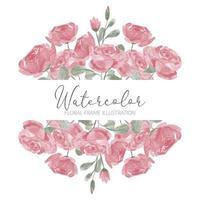 bordure de cadre aquarelle fleur rose mignonne avec feuille vecteur