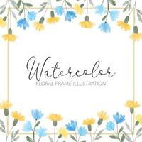 illustration de cadre carré floral aquarelle fleur sauvage bleu jaune