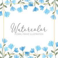 illustration de cadre carré floral aquarelle fleur sauvage bleu mignon