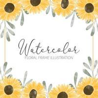 illustration de cadre de tournesol jaune mignon aquarelle vecteur