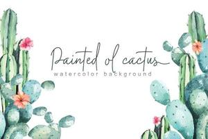 cadre de cactus avec aquarelle vecteur