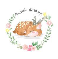 petit cerf mignon dormant dans l'illustration de cadre de fleurs de cercle vecteur