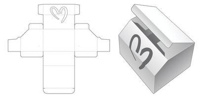 emballage d'angle avec fenêtre en forme de coeur modèle découpé