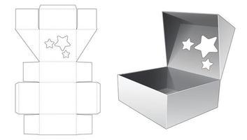 boîte-cadeau avec rabat supérieur qui a un modèle de découpe de fenêtre en forme d'étoile