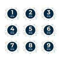 compte à rebours pour aller bannière de jours. compter la vente de temps. neuf, huit, sept, six, cinq, quatre, trois, deux, un jour avant. vecteur
