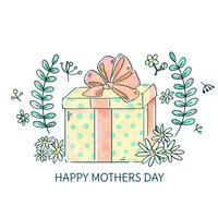 Coffret mignon avec des fleurs et des feuilles à la fête des mères vecteur