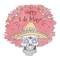 Crâne Mexicain Mignon Avec Chapeau À Cinco De Mayo vecteur