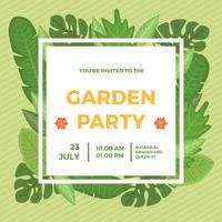 Modèle de vecteur d'invitation de fête de jardin plat