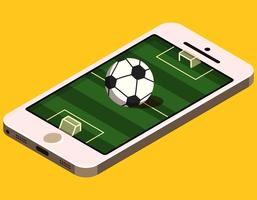 Terrain de football isométrique sur téléphone vecteur
