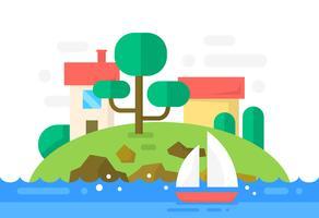 Île plate avec des maisons vecteur