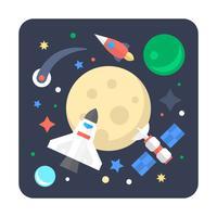 Voyage dans l'espace plat vecteur