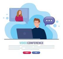 couple dans une vidéoconférence via un ordinateur portable vecteur