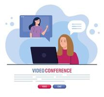 jeunes femmes lors d'une vidéoconférence via un ordinateur portable vecteur