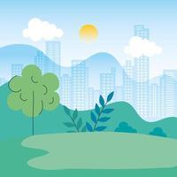 paysage naturel avec scène urbaine vecteur