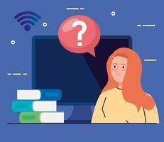 technologie d & # 39; éducation en ligne avec femme et ordinateur vecteur