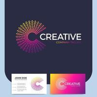 lettre abstraite créative c et carte de visite vecteur