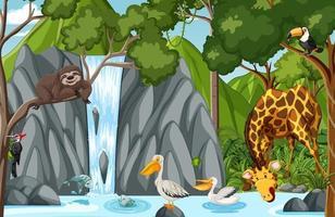 personnage de dessin animé animal sauvage dans la scène de la forêt vecteur