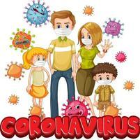 membres de la famille portant un masque avec une police de coronavirus
